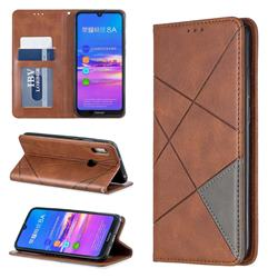 Prismatic Slim Magnetic Sucking Stitching Wallet Flip Cover for Huawei Y6 (2019) - Brown