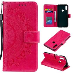 Intricate Embossing Datura Leather Wallet Case for Huawei Y6 (2019) - Rose Red