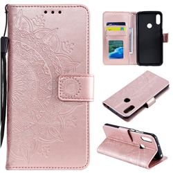 Intricate Embossing Datura Leather Wallet Case for Huawei Y6 (2019) - Rose Gold