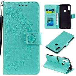 Intricate Embossing Datura Leather Wallet Case for Huawei Y6 (2019) - Mint Green