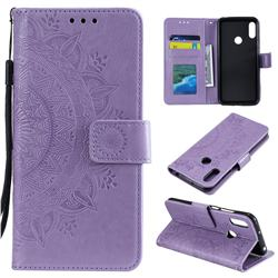 Intricate Embossing Datura Leather Wallet Case for Huawei Y6 (2019) - Purple