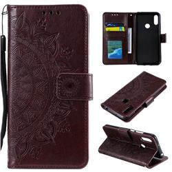 Intricate Embossing Datura Leather Wallet Case for Huawei Y6 (2019) - Brown