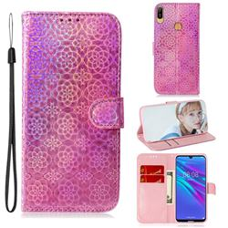 Laser Circle Shining Leather Wallet Phone Case for Huawei Y6 (2019) - Pink