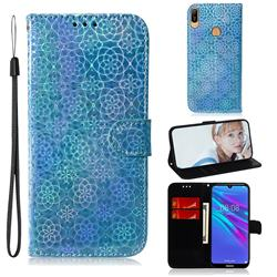 Laser Circle Shining Leather Wallet Phone Case for Huawei Y6 (2019) - Blue