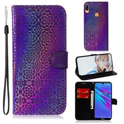 Laser Circle Shining Leather Wallet Phone Case for Huawei Y6 (2019) - Purple