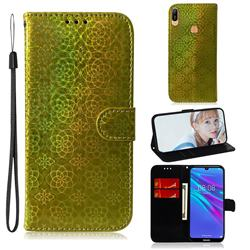 Laser Circle Shining Leather Wallet Phone Case for Huawei Y6 (2019) - Golden