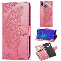 Embossing Mandala Flower Butterfly Leather Wallet Case for Huawei Y6 (2019) - Pink