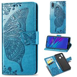 Embossing Mandala Flower Butterfly Leather Wallet Case for Huawei Y6 (2019) - Blue