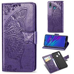 Embossing Mandala Flower Butterfly Leather Wallet Case for Huawei Y6 (2019) - Dark Purple
