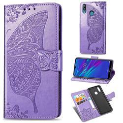 Embossing Mandala Flower Butterfly Leather Wallet Case for Huawei Y6 (2019) - Light Purple