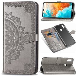 Embossing Imprint Mandala Flower Leather Wallet Case for Huawei Y6 (2019) - Gray
