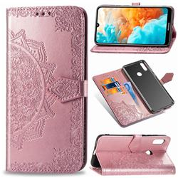 Embossing Imprint Mandala Flower Leather Wallet Case for Huawei Y6 (2019) - Rose Gold