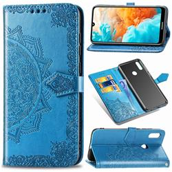 Embossing Imprint Mandala Flower Leather Wallet Case for Huawei Y6 (2019) - Blue