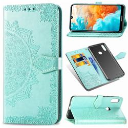 Embossing Imprint Mandala Flower Leather Wallet Case for Huawei Y6 (2019) - Green