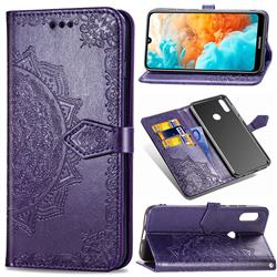 Embossing Imprint Mandala Flower Leather Wallet Case for Huawei Y6 (2019) - Purple