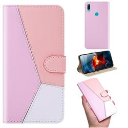 Tricolour Stitching Wallet Flip Cover for Huawei Y6 (2019) - Pink