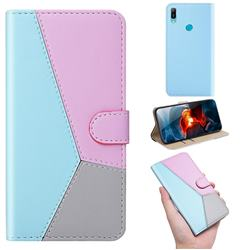 Tricolour Stitching Wallet Flip Cover for Huawei Y6 (2019) - Blue
