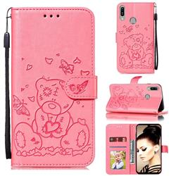 Embossing Butterfly Heart Bear Leather Wallet Case for Huawei Y6 (2019) - Pink