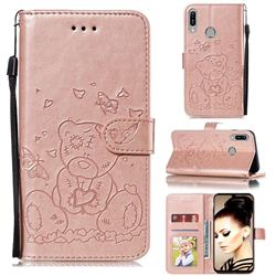 Embossing Butterfly Heart Bear Leather Wallet Case for Huawei Y6 (2019) - Rose Gold