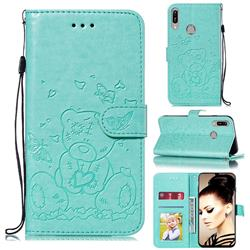 Embossing Butterfly Heart Bear Leather Wallet Case for Huawei Y6 (2019) - Green