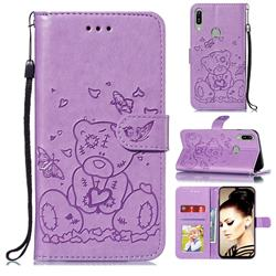 Embossing Butterfly Heart Bear Leather Wallet Case for Huawei Y6 (2019) - Purple