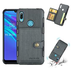 Brush Multi-function Leather Phone Case for Huawei Y6 (2019) - Gray