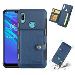 Brush Multi-function Leather Phone Case for Huawei Y6 (2019) - Blue