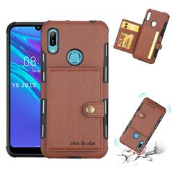 Brush Multi-function Leather Phone Case for Huawei Y6 (2019) - Brown