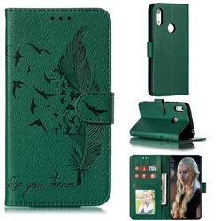 Intricate Embossing Lychee Feather Bird Leather Wallet Case for Huawei Y6 (2019) - Green