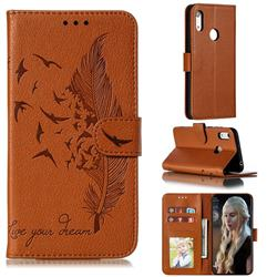 Intricate Embossing Lychee Feather Bird Leather Wallet Case for Huawei Y6 (2019) - Brown