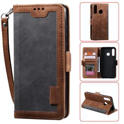 Luxury Retro Stitching Leather Wallet Phone Case for Huawei Y6 (2019) - Gray