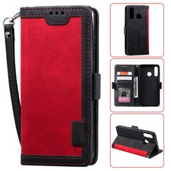 Luxury Retro Stitching Leather Wallet Phone Case for Huawei Y6 (2019) - Deep Red