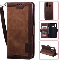 Luxury Retro Stitching Leather Wallet Phone Case for Huawei Y6 (2019) - Dark Brown