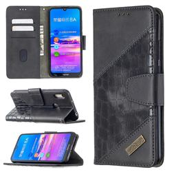BinfenColor BF04 Color Block Stitching Crocodile Leather Case Cover for Huawei Y6 (2019) - Black