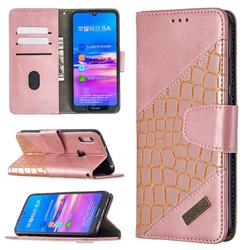BinfenColor BF04 Color Block Stitching Crocodile Leather Case Cover for Huawei Y6 (2019) - Rose Gold