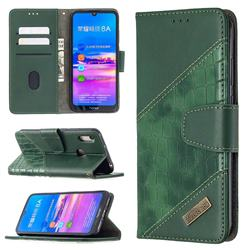 BinfenColor BF04 Color Block Stitching Crocodile Leather Case Cover for Huawei Y6 (2019) - Green