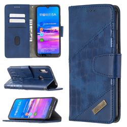 BinfenColor BF04 Color Block Stitching Crocodile Leather Case Cover for Huawei Y6 (2019) - Blue