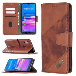 BinfenColor BF04 Color Block Stitching Crocodile Leather Case Cover for Huawei Y6 (2019) - Brown
