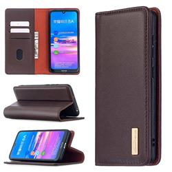 Binfen Color BF06 Luxury Classic Genuine Leather Detachable Magnet Holster Cover for Huawei Y6 (2019) - Dark Brown