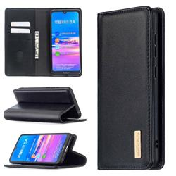 Binfen Color BF06 Luxury Classic Genuine Leather Detachable Magnet Holster Cover for Huawei Y6 (2019) - Black