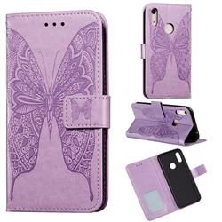 Intricate Embossing Vivid Butterfly Leather Wallet Case for Huawei Y6 (2019) - Purple