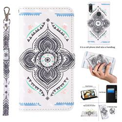Mandala Totem 3D Painted Leather Wallet Case for Huawei Y6 (2019)