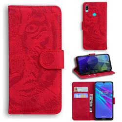 Intricate Embossing Tiger Face Leather Wallet Case for Huawei Y6 (2019) - Red