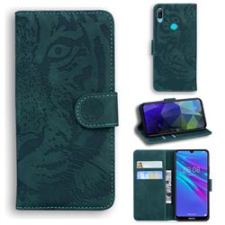 Intricate Embossing Tiger Face Leather Wallet Case for Huawei Y6 (2019) - Green