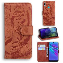 Intricate Embossing Tiger Face Leather Wallet Case for Huawei Y6 (2019) - Brown