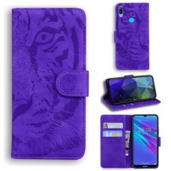 Intricate Embossing Tiger Face Leather Wallet Case for Huawei Y6 (2019) - Purple