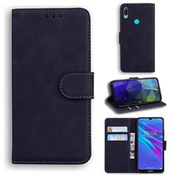 Retro Classic Skin Feel Leather Wallet Phone Case for Huawei Y6 (2019) - Black