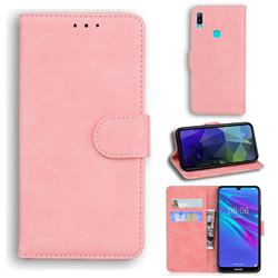 Retro Classic Skin Feel Leather Wallet Phone Case for Huawei Y6 (2019) - Pink