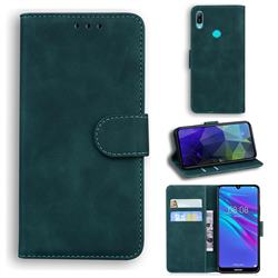 Retro Classic Skin Feel Leather Wallet Phone Case for Huawei Y6 (2019) - Green