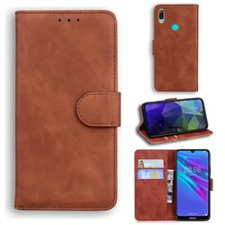 Retro Classic Skin Feel Leather Wallet Phone Case for Huawei Y6 (2019) - Brown